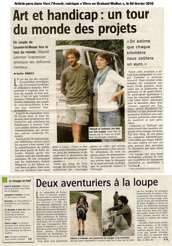 Article paru dans Vers l'Avenir (Brabant Wallon) le 04 février 2010