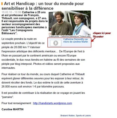 Catherine au micro de Caroline Martin pour Vivacité le 15-02-2010